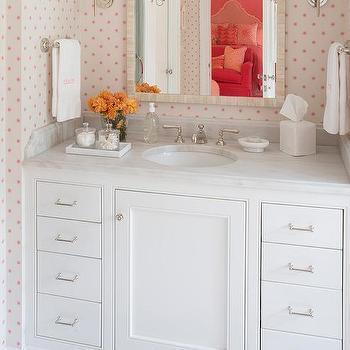 White Girl Bathroom With Pink Polka Dot Wallpaper