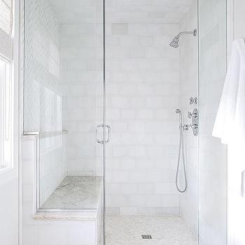 White Shower Tiles with CReam Mosaic Shower Floor Tiles