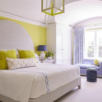 gray canopy bed with citron green headboard contemporary
