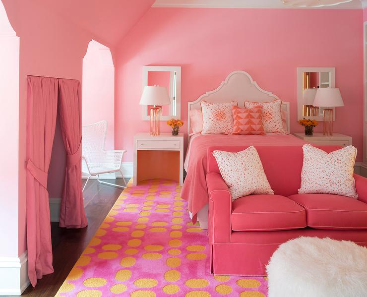 Pink Girl Bedroom with Pink Loveseat at Foot of BedPink Girl Bedroom with Pink Loveseat at Foot of Bed   Contemporary  . Loveseat For Bedroom. Home Design Ideas