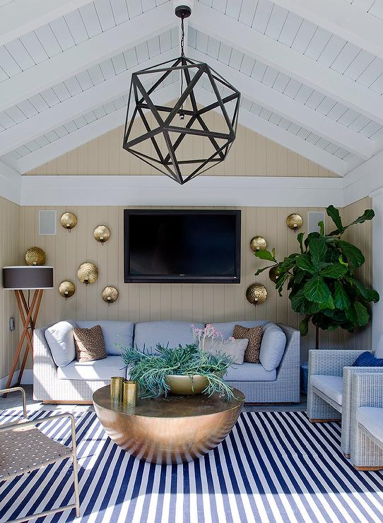 Pool Cabana With Gray Wicker Sectional And Chairs
