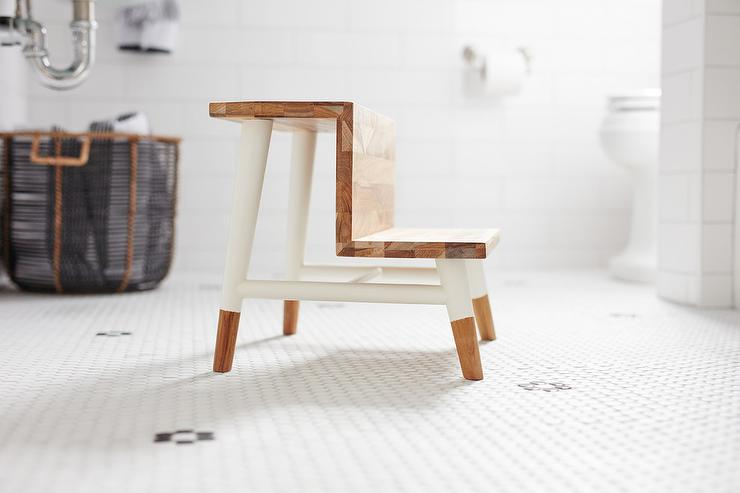 Kid Bathroom with Serena and Lily Teak Step Stool - Transitional ...