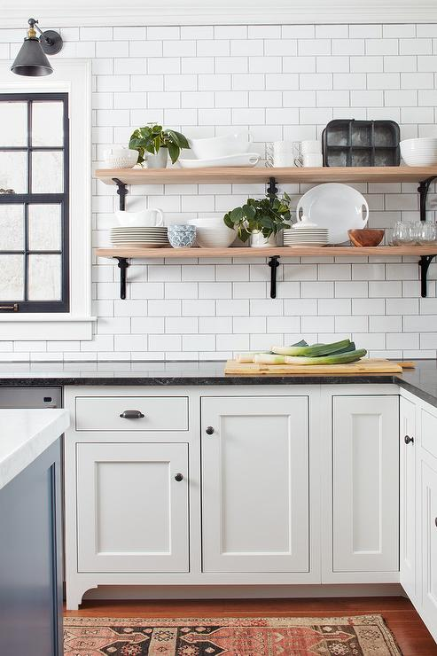 Wood and iron kitchen shelves design ideas