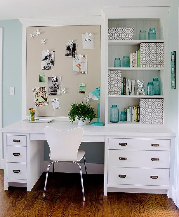 White Built In Desk With Gray Linen Pin Board Transitional Denlibraryoffice