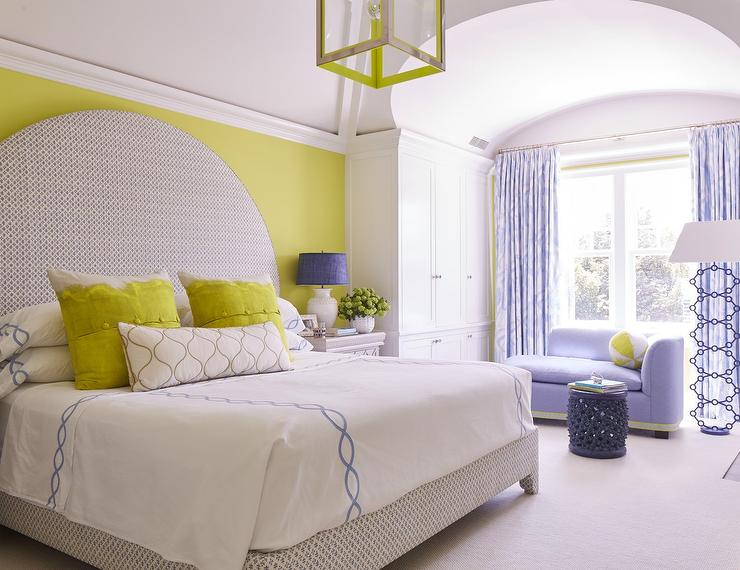 Gorgeous Yellow And Purple Contemporary Bedroom Showcases A Stunning  Oversized Gray Print Curved Headboard Placed Flush Against A Yellow Wall  And Supporting ...