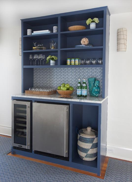 blue bar shelves with stainless steel mini fridge - Glass Front Mini Fridge