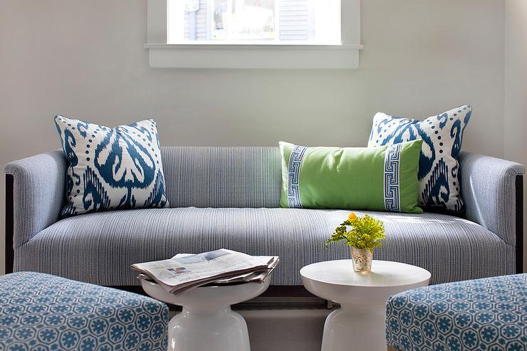 Blue Striped Sofa with Green Pillow and Blue Ikat Pillows ...
