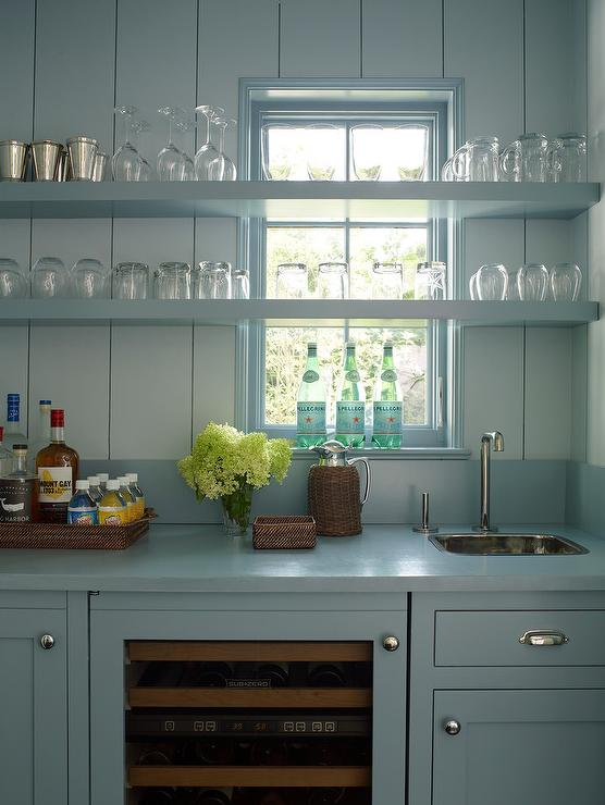 Navy Wet Bar Cabinets With Wood Countertops And Stainless