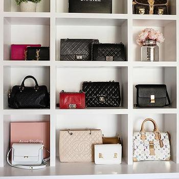 Walk In Closet Bag Display Shelves Design Ideas