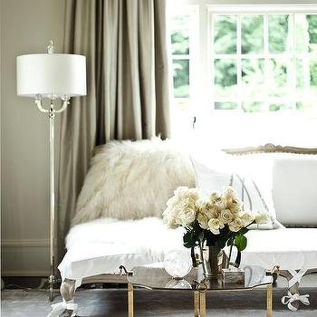 Gray And White French Settee With Taupe Silk Curtains