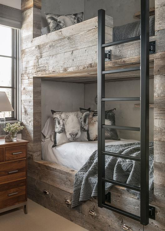 Barn Board Bunk Beds With Storage Drawers Country Bedroom