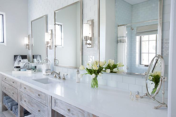 Rustic Whitewashed Washstand With Three Mirrors  Country Bathroom