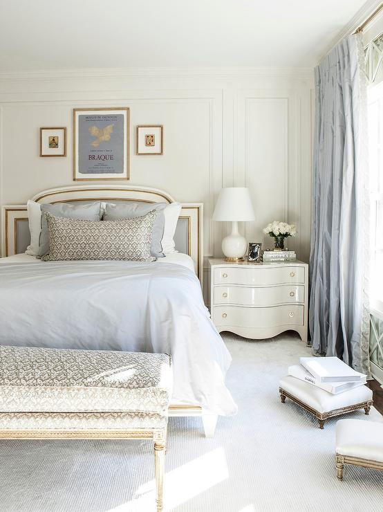White And Blue French Bedroom With Gray French Bench