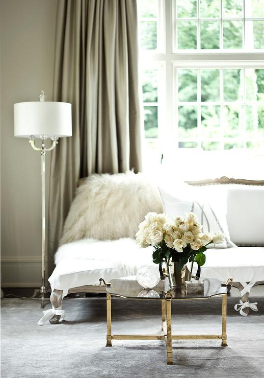 Gray and White French Settee with Taupe Silk Curtains - French - Bedroom