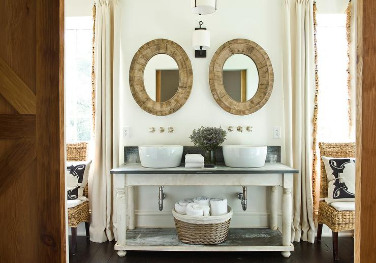 Whitewashed Sink Vanity With Round Bowl Sinks