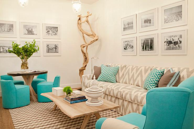 Gray And Aqua Blue Living Room Contemporary Living Room