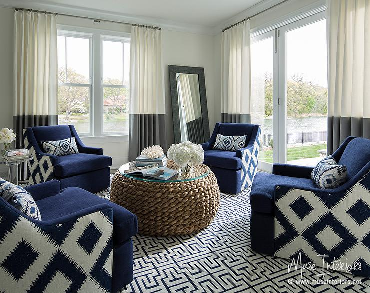 Blue Circular Living Room With Gray Banded Curtains