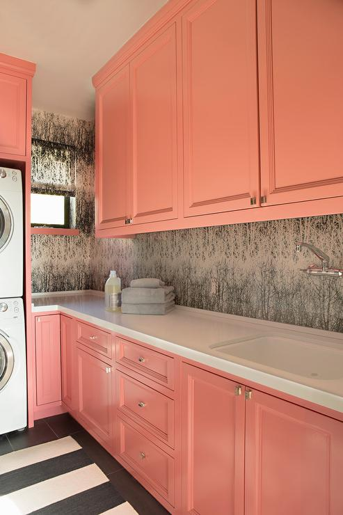 White And Yellow Laundry Room With Yellow Medallion