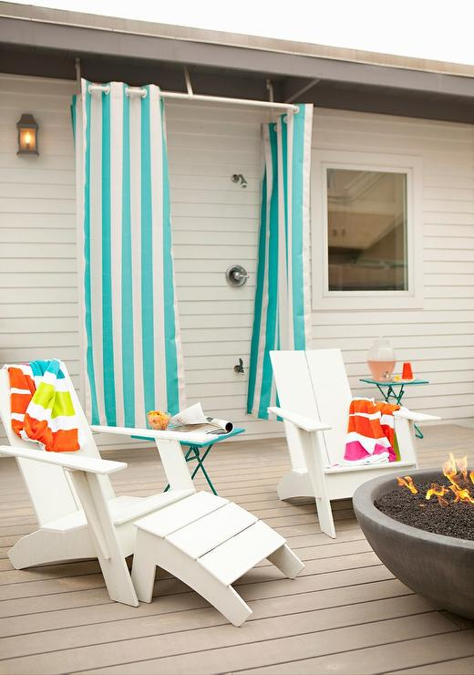 Outdoor Deck Shower With Turquoise Blue Striped Curtains