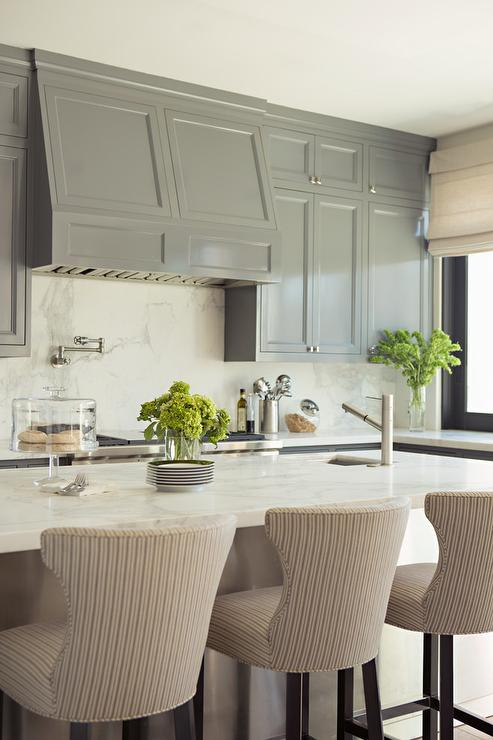 Gray Kitchen with Gray Pinstripe Bar Stools - Transitional ...