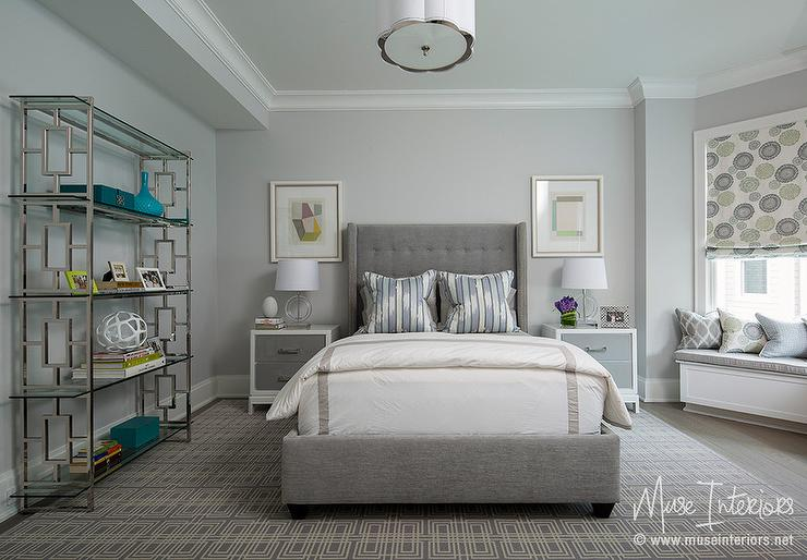 gray tufted wingback bed design ideas