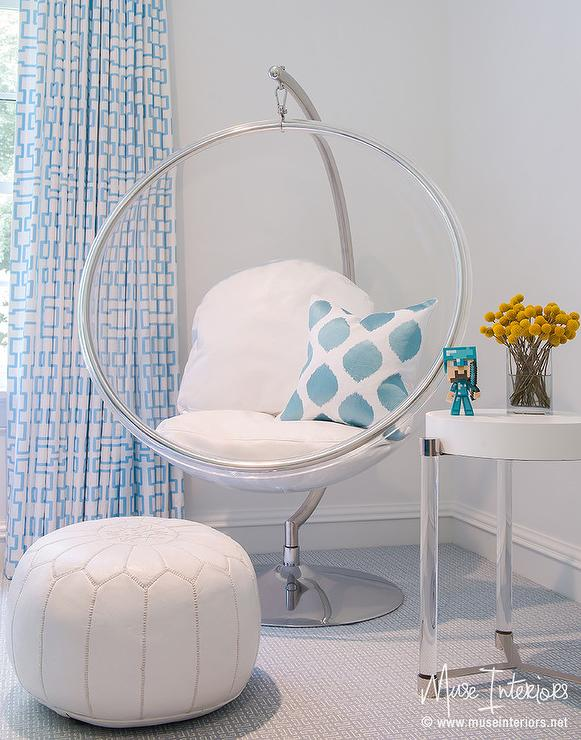 Awesome White And Blue Girl Room With Eero Aarnio Hanging Bubble Chair And Indoor  Or Outdoor Stand