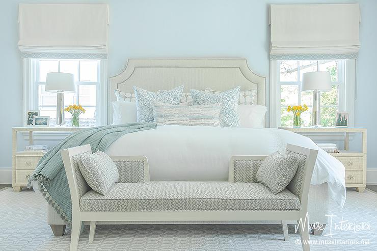light blue bedroom. Ivory and Pale Blue Bedroom  Transitional