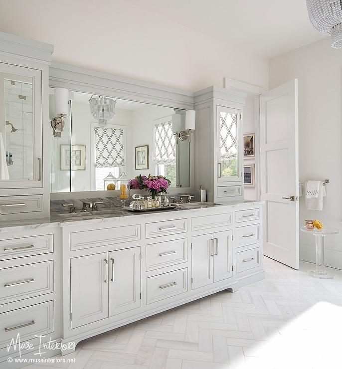 Pale Gray Bath Vanity Cabinets with White Marble Herringbone Tile ...