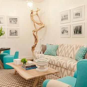 Gray And Aqua Blue Living Room