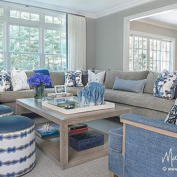 Gray sectional with cobalt blue velvet pillows for Cobalt blue living room