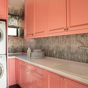 Teal Wallpaper - Contemporary - laundry room - K Mathiesen ...