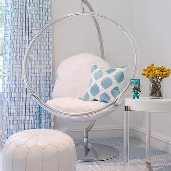 Incroyable White And Blue Girl Room With Eero Aarnio Hanging Bubble Chair And Indoor  Or Outdoor Stand