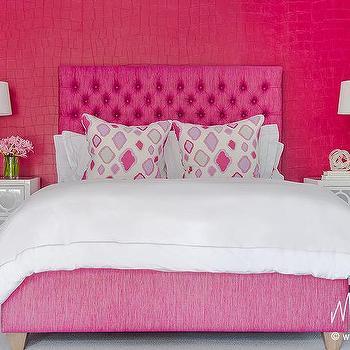 Hot Pink Faux Croc Wallpaper Design Ideas