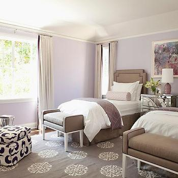 Purple And Brown Bedroom With Mirrored Nightstand