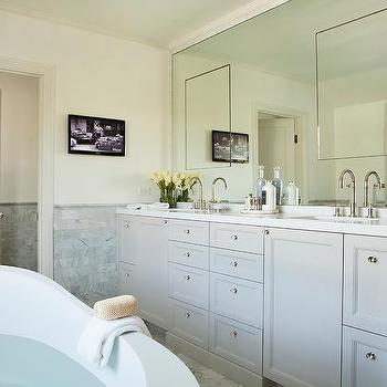 Marble Framed Mirror With Seamless Inset Medicine Cabinets
