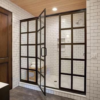 Industrial Shower Design With Black And White Tiles