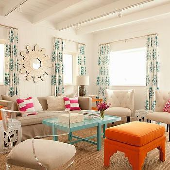 Blue And Orange Living Room Accents