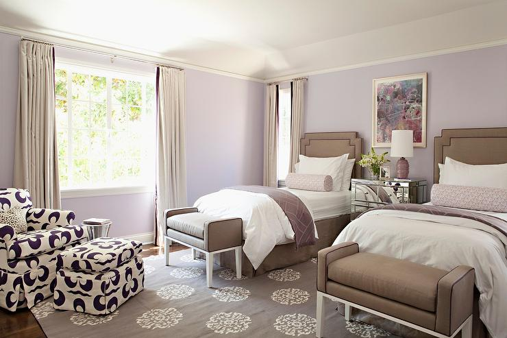 purple and brown bedroom with mirrored nightstand transitional