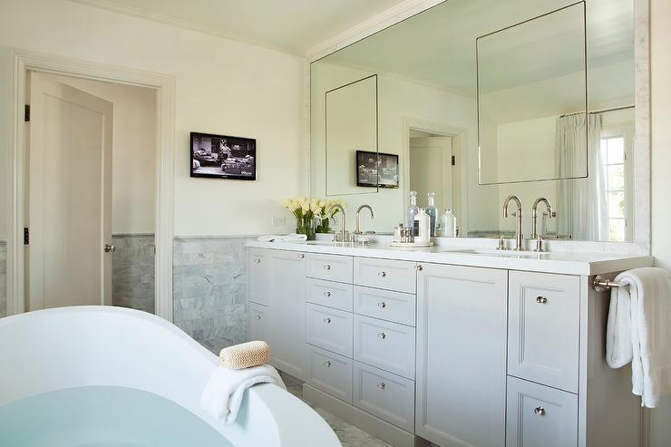 Marble Framed Mirror With Seamless Inset Medicine Cabinets - Master bathroom medicine cabinets
