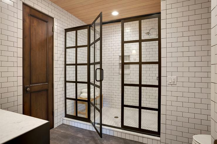 white subway tile shower tiles with black grout