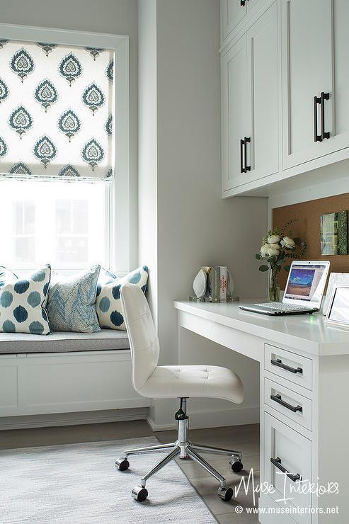 Framed Cork Board Over White Built In Desk Transitional
