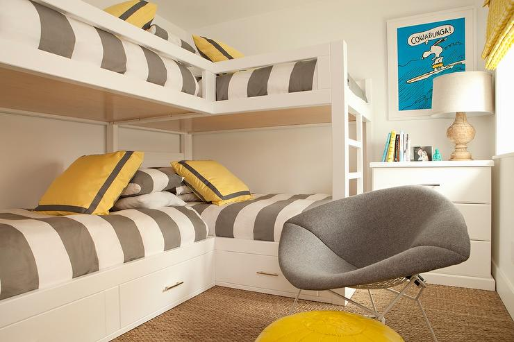 L Shaped Bunk Beds With Gray Awning Stripe Duvet Covers