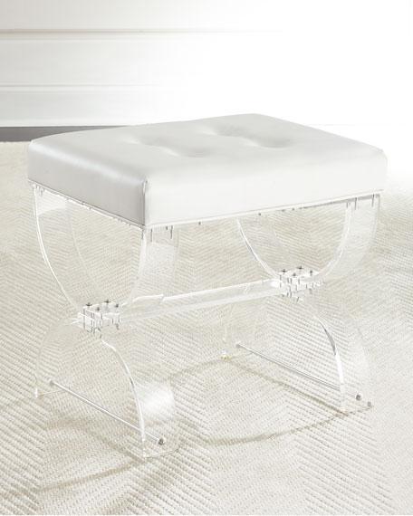 Nels Acrylic Vanity White Faux Leather Seat