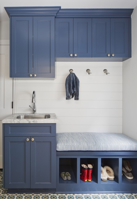 Blue Mudroom With Shiplap Backsplash Cottage Laundry Room
