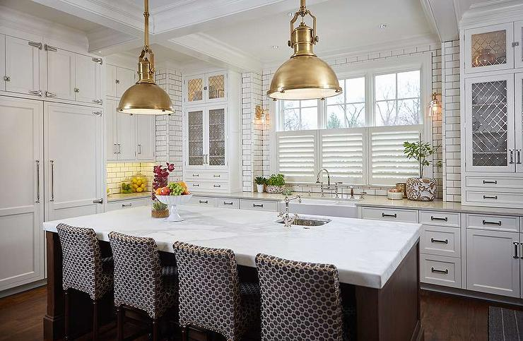 Brown Kitchen Island With Brass Industrial Pendant Lights - Gold kitchen pendant lights