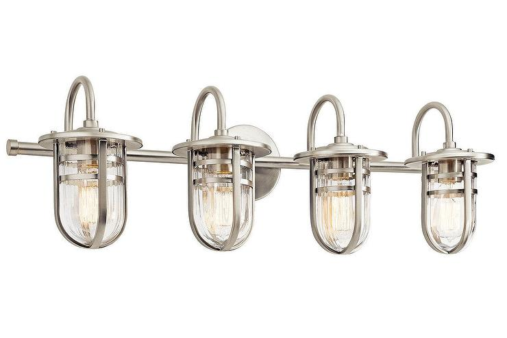 Brushed Nickel 4 Light Bathroom Metal Caged Ribbed Glass Shades Vanity Light