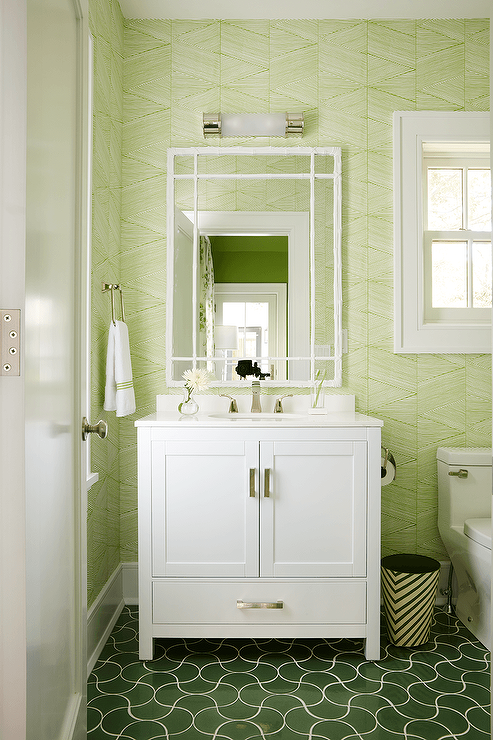 green and white bathroom ideas white and green bathroom with green wavy tiles 23892