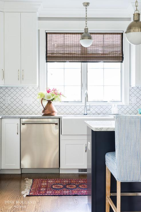 White Moroccan Trellis Tiles By Home Depot Transitional