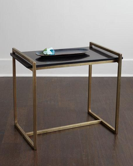 Arteriors Emerson Vintage Brass Iron And Black Marble Side Table - Black and brass side table