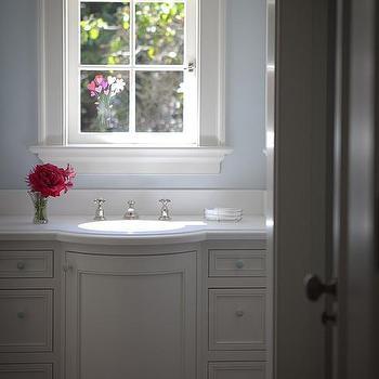 Gray Scallop Trim On Gray Sink Vanity Cottage Bathroom
